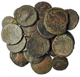 218  -  HISPANIA ANTIGUA. Lote de 19 monedas de Obulco: as sextantal, as de 10 monedas en libra, doble, as uncial, unidad, 10 ases diferentes y 4 semis diferentes. De RC a MBC-.