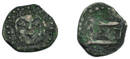 226  -  HISPANIA ANTIGUA. ASIDO. Semis. A/ Cabeza frontal de Melkart con leonté. R/ Dos atunes a der., en medio b'b'l. AE 3,49 g. 20,5 mm. I-155. ACIP-920. BC+. Rarísima.