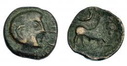 231  -  HISPANIA ANTIGUA. KASTILO-CASTULO. Semis. A/ Cabeza masculina de estilo tosco a der.; (CN VO)C S T F. R/ Toro a der., encima creciente. AE 6,02 g. 19,1 mm. I-no. ACIP-2122. BC+. Rarísima.