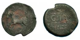 234  -  HISPANIA ANTIGUA. CILPE. As. A/ Caballo galopando a izq. R/ Dos espigas a der., en medio entre líneas CILP(E). AE 6,33 g. 24,4 mm. I-825. ACIP-no. BC. Rarísima.