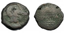 264  -  HISPANIA ANTIGUA. ONUBA. As. A/ Cabeza masculina a der. R/ Dos espigas a der., en medio ONVBA. AE 13,43 g. 27,9 mm. I-1890. ACIP-2415. BC. Muy rara.