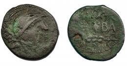 266  -  HISPANIA ANTIGUA. ONUBA. As. A/ Cabeza con casco a der.; delante P TERENT ET COPL. R/ Dos espigas a izq., en medio (ON)VBA. AE 6,69 g. 24,6 mm. I-1892. ACIP-2420.  Oxidación. BC+. Rarísima.