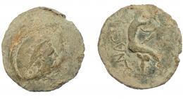 288  -  HISPANIA ANTIGUA. Plomo monetiforme. Serie de las minas. A/ Cabeza de Mercurio con pétaso a der., detrás dos glóbulos. R/ Hombre desnudo avanzando a der., entre las piernas (P)S, detrás (N)ONACI. Pb 78,56 g. 44,7 mm. CCP-rev. sim. a p.27,5. BC-/MBC-.
