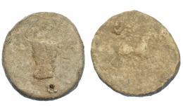 291  -  HISPANIA ANTIGUA. Plomo monetiforme. Serie de las minas. A/ Cabeza frontal de toro. R/ ¿Caballo a der.? Pb 87,09 g. 45,8 mm. CCP-sim. a pp. 28-29. RC.