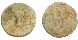 293  -  HISPANIA ANTIGUA. Plomo monetiforme. Serie de las minas. A/ Cabeza frontal de toro. R/ ¿Caballo a der.? Pb 97,28 g. 50 mm. CCP-p. 29 (sim.). RC.