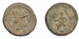 294  -  HISPANIA ANTIGUA. Plomo monetiforme. Serie de las minas. A/ Cabeza de Vulcano con píleo a der., delante S, detrás tenazas (no visibles), alrededor láurea. R/ Vulcano sentado a izq., delante A(ES), detrás CED, alrededor láurea. Pb 137,57 g. 45,1 mm. CCC-p. 30,18. BC+.