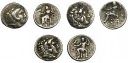 297  -  GRECIA ANTIGUA. MACEDONIA. Alejandro III. Lote de 3 tetradracmas. BC+/MBC-.