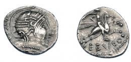 301  -  GRECIA ANTIGUA. NARBONENSE. Alobroges. Quinario (75-52 a.C.). A/ Cabeza con casco a der., detrás (RICA NT). R / Jinete con lanza a der., debajo EBVRO. AR 2,12 g. 16,4 mm. BMC-259. DT 3166. Scheers, Lyon, 255. MBC+. Ex col. Guadán 1267.