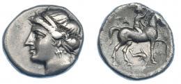 321  -  GRECIA ANTIGUA. CALABRIA. Tarento. Didracma (281-228 a.C.). Serie Campano-tarentina. A/ Cabeza diademada de ninfa a izq. R/ Jinete a der. coronando caballo; TA detrás, debajo delfín. AR 7,01 g. 20,5 mm. COP-901 vte. (letras en anv.). SBG-366. Pequeñas marcas. MBC. Ex col. Guadán 1393.