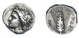 328  -  GRECIA ANTIGUA. LUCANIA. Metaponto. Estátera (330-290 a.C.). A/ Cabeza de Deméter a izq. R/ Espiga, a izq. Artemisa-Hécate; a der. META. AR 7,82 g. 19,6 mm. SNG ANS-494. SBG-416. Vano en rev. EBC-. Ex col. Guadán 1421.