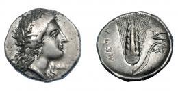 329  -  GRECIA ANTIGUA. LUCANIA. Metaponto. Estátera (330-290 a.C.). A/ Cabeza de Deméter a der. R/ Espiga; a der. arado, debajo MAX, a izq. META. AR 7,82 g. 21,2 mm. COP-1227. SBG-416. Leve vano en rev. MBC.  Ex col. Guadán 1424.