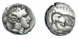 333  -  GRECIA ANTIGUA. LUCANIA . Thurium. Diestátera (350-300 a.C.). A/ Cabeza de Atenea a der. con casco decorado con Scylla portando tridente. R/ Toro embistiendo a der.; encima ΘOYPIΩ(N), en exergo dos peces a der. AR 15,46 g. 25,2 mm. COP-1429 vte. (sin letra). SBG- 445. Rayita en anv. MBC-/MBC+. Rara. Ex col. Guadán 1447.