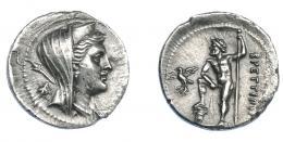 340  -  GRECIA ANTIGUA. BRUTTIUM. Liga de los brucios. Dracma (217-214 a.C.). A/ Busto laureado, drapeado y con polos de Hera Lacinia a der., detrás mosca. R/ Zeus a izq. con cetro y apoyando pie sobre columna jónica, a  izq. águila con guirnalda; ΒΡΕΤΤΙΩΝ. AR 4,14 g. 19,3 mm. COP-1615. SBG-515. Ligeramente abrillantada. MBC+. Escasa. Ex col. Guadán 1466.