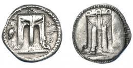 344  -  GRECIA ANTIGUA. BRUTTIUM. Crotona. Didracma (550-480 a.C.). A/ Trípode con terminación en patas de león, a izq. cigüeña, a der. KPO. R/ Trípode incuso. AR 7,81 g. 23 mm. COP-1759. SBG-256. Ligeramente abrillantada. MBC.  Ex col. Guadán 1487.