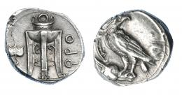 346  -  GRECIA ANTIGUA. BRUTTIUM. Crotona. Didracma (425-350 a.C.), A/ Trípode, hoja de hiedra a la izq., a la der. QPO. R/ Águila a izq con cabeza vuelta sobre cabeza de ciervo. AR 7,90 g. 20,7 mm. COP-1779. SBG-470. EBC-. Muy escasa. Ex col. Guadán 1495.