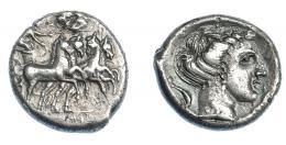 352  -  GRECIA ANTIGUA. SICILIA. Lilibea. Tetradracma (330-305 a.C.). A/ Auriga en cuadriga a der., encima Nike coronándola; en exergo ley. púnica. R/ Cabeza de Koré-Perséfone a der., alrededor delfines. AR 16,70 g. 25,7 mm. COP-no. BMC-20. SBG-775. Pequeñas erosiones. MBC. Rara. Ex col. Guadán 1726.