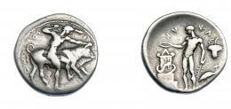 356  -  GRECIA ANTIGUA. SICILIA. Selinus. Didracma (c. 440 a.C.). A/ Heracles desnudo y con clava a der. luchando con el toro cretense;  ΣEΛINO(TION). R/ El río Hypsas, desnudo a izq. con rama y pátera, vertiendo libación sobre altar con serpiente enroscada; a la der. garza, encima hoja de perejil; HYΨAΣ. Ar 8,28 g. 23,4 mm. COP-601. SBG-908. MBC-. Rara. Ex col. Guadán 1636.