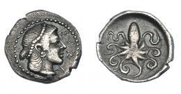 360  -  GRECIA ANTIGUA. SICILIA. Siracusa. Litra (c. 466-460 a.C.). A/ Cabeza diademada de Aretusa a der.; ΣYRA. R/ Pulpo. AR 0,74 g. 12,2 mm. COP-638. SBG-929. MBC. Ex col. Guadán 1648.