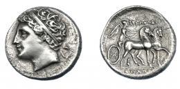 364  -  GRECIA ANTIGUA. SICILIA. Siracusa. 8 litras (275-215 a.C.). Gelón, hijo de Hierón II. A/ Cabeza diademada a izq. R/ Nike en biga a der. AR 6,19 g. 22,2 mm. BMC-527 vte. COP-no. SBG-986. Anv. abrillantado y rev. erosionado. MBC+. Escasa. Ex col. Guadán 1660.