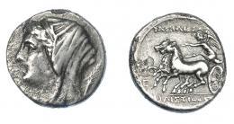 365  -  GRECIA ANTIGUA. SICILIA. Siracusa. 5 litras (274-216 a.C.). Hierón II (a nombre de su esposa Philistis). A/ Cabeza velada y diademada a der., detrás palma. R/ Nike a izq. sobre biga, en campo E. AR 4,02 g. 17,1 mm. COP-829. SBG-990. Hojas. MBC-/MBC. Ex col. Guadán 1659