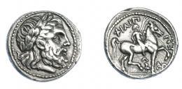 375  -  GRECIA ANTIGUA. MACEDONIA. Filipo II. Anfípolis. Tetradracma (323-316 a.C.). A/ Cabeza laureada de Zeus a der. R/ El rey cabalgando a der., entre las patas del caballo antorcha y delante monograma; FILIPPOU. AR 14,10 g. 25,5 mm. COP-559. SBG-6680. Rayas en rev. MBC+/MBC. Ex col. Guadán 1748.
