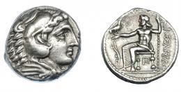 376  -  GRECIA ANTIGUA. MACEDONIA. A nombre de Alejandro III (316-315 a.C.). Acuñada bajo Casandro. Anfípolis. A/ Cabeza de Alejandro con leonté a der. R/ Zeus entronizado a izq. con águila y cetro, delante aplustre, debajo del trono Π con punto en el interior; ΑΛΕΞΑΝΔΡΟΥ. AR 17,07 g. 23,9 mm. PRC-129. SBG-6718 vte. MBC+. Ex col. Guadán 1766.