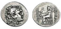 377  -  GRECIA ANTIGUA. MACEDONIA.  A nombre de Alejandro III. Mesembria. Tetradracma (175-125 a.C.). A/ Cabeza de Alejandro con leonté a der. R/ Zeus entronizado a izq. con águila y cetro; delante casco corintio y ΔI, bajo el trono BY; BAΣIΛEΩΣ AΛΕΞΑΝΔΡΟΥ. AR 16,10 g. 34,9 mm. PRC-1072. SBG-6718 vte. Ligeramente abriallantada. MBC+/MBC. Ex col.Guadán 1772.