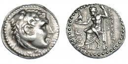 378  -  GRECIA ANTIGUA. MACEDONIA. A nombre de Alejandro III. Mileto. Tetradracma (190-150 a.C.). A/ Cabeza de Alejandro con leonté a der. R/ Zeus entronizado a izq., delante estrella sobre león a izq. con cabeza vuelta, debajo monograma; dos monogramas horizontales a la der.; ΑΛΕΞΑΝΔΡΟΥ. PRC- 2209. SBG-6718 vte. MBC/MBC+. Rara en esta conservación. Ex col. Guadán 1771.
