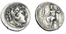 379  -  GRECIA ANTIGUA. MACEDONIA. Alejandro III. Salamis. Tetradracma (332-323 a.C.). A/ Cabeza de Alejandro con leonté a der. R/ Zeus entronizado a izq. sosteniendo águila y cetro, delante arco; ΑΛΕΞΑΝΔΡΟΥ. AR 17,18 g. 26,7 mm. PRC-3139. SBG-6718. MBC+/MBC. Ex col. Guadán 1768.