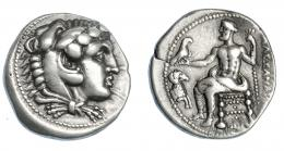 380  -  GRECIA ATIGUA. MACEDONIA. Alejandro III. Damasco. Tetradracma (330-320 a.C.). A/ Cabeza de Alejandro con leonté a der. R/ Zeus entronizado a izq. sosteniendo águila y cetro, delante prótomo de cabra a der.; ΑΛΕΞΑΝΔΡΟΥ. AR 17,06 g. 25,9 mm. PRC-3203. SBG-6718. MBC+/MBC. Ex col. Guadán 1763.