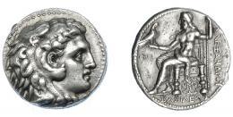 382  -  GRECIA ANTIGUA. MACEDONIA. A nombre de Alejandro III. Babilonia. Tetradracma (311-300 a.C.). Acuñada bajo Seleuco I. A/ Cabeza de Alejandro con leonté a der. R/ Zeus entronizado a izq. sosteniendo águila y cetro, delante MI y debajo tridente; bajo el trono monograma con corona; ΒΑΣΙΛΕΩΣ ΑΛΕΞΑΝΔΡΟΥ. Ar 17,17 g. 25,7 mm. PRC-3763 (tridente hacia abajo). SBG-6718 vte. EBC-. Ex col. Guadán 1761.