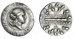 385  -  GRECIA ANTIGUA. MACEDONIA. Anfípolis. Tetradracma (158-150 a.C.). A/ Busto de Artemisa a der. con arco y carcaj, dentro de escudo macedonio. R/ Clava con monogramas encima y debajo.; MAKEDONWN PRWTHS. AR 17,50 g. 31,3 mm. COP-1310. SBG-1386 vte. MBC. Ex col. Guadán 1816.