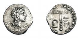 386  -  GRECIA ANTIGUA. MACEDONIA. Aesillas como cuestor. Pella. Tetradracma (93-2 a.C.).  A/ Cabeza de Alejandro III divinizado a der.; MAKEDONWN. R/ Dentro de corona: caja, maza y silla de cuestor; AESILLAS Q. AR 16,22 g. 31,1 mm. COP-1328/30. SBG-1463. MBC. Ex col. Guadán 1818.
