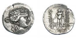 392  -  GRECIA ANTIGUA. TRACIA. Tasos. Tetradracma (post. 146 a.C.). A/ Cabeza de Dionisos a der. R/ Heracles con clava y leonté a izq., delante monograma.; HERAKLEOUS SOTEROS QASIWN. AR 16,50 g. 31,5 mm. COP-1046. SBG-1759. Ligeramente abrillantada. MBC+. Ex col. Guadán 1919.