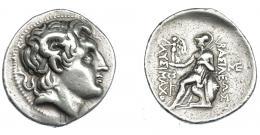 393  -  GRECIA ANTIGUA. TRACIA. Lisímaco. Tetradracma (288-281 a.C.). Anfípolis. A/ Cabeza de Alejandro III, diademada, con el cuerno de Amón y deificada a der. R/ Atenea sentada a izq., delante caduceo y monograma; a la der monograma; BAΣΙΛΕΩΣ ΛYΣIMAXOY. AR 16,99 g. 32,9 mm. COP-1114 vte. SBG-6815. MBC/MBC-. Ex col. Guadán 1864.