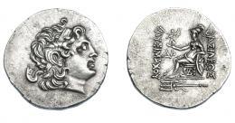394  -  GRECIA ANTIGUA. TRACIA. Lisímaco. Tetradracma (siglo II-I a.C.). Byzantion. A/ Cabeza de Alejandro III, diademada, con el cuerno de Amón y deificada a der. R/ Atenea sentada a izq., sosteniendo Nike que corona el nombre del rey y apoyada sobre escudo con cabeza de león; a la izq. monograma ΔP, bajo el trono BY y en exergo tridente; ΒΑΣΙΛΕΩΣ -ΛΥΣΙΜΑΧΟΥ. AR 17,30 mm. 32,51 mm. COP-1141. SBG-6814. MBC+. Ex col. Guadán 1871.