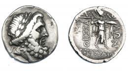 397  -  GRECIA ANTIGUA. TESALIA. Liga tesalia. Estátera (196-127 a.C.). A/ Cabeza de Zeus a der. R/ Atenea a der. con lanza y escudo. AR 5,93 g. 21,8 mm. COP-282. SBG-2232. MBC-/MBC.  Ex col. Guadán 1928.