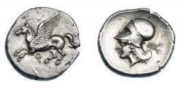 406  -  GRECIA ANTIGUA. CORINTIA. Corinto. Estátera (400-375 a.C.). A/ Pegaso a izq., debajo q. R/ Cabeza de Atenea a izq., detrás palma. AR 8,55 g. 23,1 mm. COP-no. SBG-2626 vte. Pegassi-104. Ligeramente abrillantada. EBC-. Ex col. Guadán 2089.