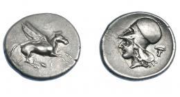 407  -  GRECIA ANTIGUA. CORINTIA. Corinto. Estátera (400-375 a.C.). A/ Pegaso a der., debajo q. R/ Cabeza de Atenea a izq., detrás cabeza de toro. AR 8,60 g. 22,7 mm. COP-32 vte. (cabeza a der.). SBG-2629 vte. Fina raya en anv. y leve erosión. MBC+. Ex col. Guadán 2090.