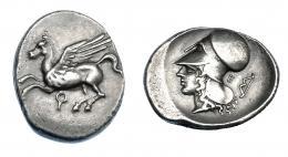 409  -  GRECIA ANTIGUA. CORINTIA. Corinto. Estátera (345-307 a.C.). A/ Pegaso a izq., debajo q. R/ Cabeza de Atenea a izq., detrás arco y letra E. AR 8,47 g. 23,6 mm. COP-103. SBG-2630 vte. MBC+/MBC. Ex col. Guadán 2091.