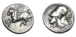 410  -  GRECIA ANTIGUA. CORINTIA. Corinto. Estátera (345-307 a.C.). A/ Pegaso a izq., debajo q. R/ Cabeza de Atenea a izq., detrás Nike. AR 8,54 g. 20,8 mm. COP-110. SBG-2630. golpes en anv. EBC-. Ex col. Guadán 2096.