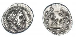 414  -  GRECIA ANTIGUA. LIGA AQUEA. Argos. Trióbolo (c. 228 a.C.). A/ Cabeza de Zeus laureada a der. R/ Monograma y maza dentro de corona de laurel. AR 2,80 g. 16,2 mm. COP-268. SBG-2984. MBC+. Ex col. Guadán 2150.