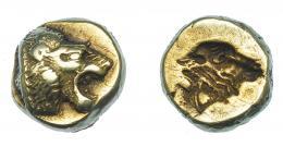 416  -  GRECIA ANTIGUA. LESBOS. Mytilene. Hekte (521-478 a.C.). A/ León rugiendo. R/ Cabeza de vaca incusa. AR 2,53 g. 10,1 mm. COP-301. SBG-4240. MBC+. Ex col. Guadán 2287.