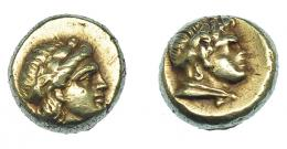 417  -  GRECIA ANTIGUA. LESBOS. Mytilene. Hekte (377-326 a.C.). A/ Cabeza de Dionisos a der. R/ Cabeza de sátiro a der. El 2,52 g. 10 mm. COP-no. SBG-4250. SNG von Aulock 1719. MBC+. Rara. Ex col. Guadán 2288.