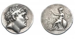 419  -  GRECIA ANTIGUA. MISIA. Attalos I. Pérgamo. Tetradracma (241-197 a.C.). A/ Cabeza laureada de Philetairos a der. R/ Atenea sentada a izq. con corona, detrás arco, a la izq. X; ΦΙΛΕΤΑΙΡΟΥ. AR 16,81 g. 30,6 mm. COP-no. SBG-7220. SNG Francia-1623/4 vte. MBC/MBC-. Muy escasa. Ex col. Guadán 2258.