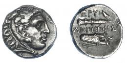 423  -  GRECIA ANTIGUA. JONIA. Erythrae. Dracma (325-315 a.C.). A/ Cabeza de Heracles a der. R/ Maza a izq. y carcaj a der.; EPY/ΔΙΟΠΕΙΘΗΣ (Diopeithes). AR 3,80 g. 14,15 mm. COP-584 vte. SBG-4424. Rayita y erosión en rev. MBC+. Ex col. Guadán 2311.