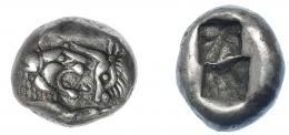 427  -  GRECIA ANTIGUA. LIDIA. Creso. 1/2 estátera (560–546 a.C.). Sardes. A/ Prótomos de león y toro enfrentados. R/ Dos cuadrados incusos. AR 5,31 g. 15,3 mm. COP-455. SBG-3420. MBC. Escasa. Ex col. Guadán 2400.