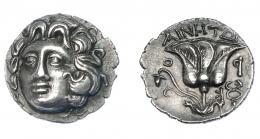 431  -  GRECIA ANTIGUA. ISLAS DE CARIA Rodas. Dracma (304-189 a.C.). A/ Cabeza de Helios de frente a izq. R/ Rosa, encima magistrado; caduceo a der., O-P. AR 2,43 g. 15 mm. COP-770 vte. SBG-5051. EBC-/EBC. Ex col. Guadán 2390.