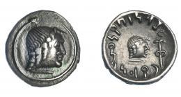 447  -  GRECIA ANTIGUA. ARABIA. Hemidracma (50-150 d.C.). A/ Cabeza masculina a der., alrededor serpiente. R/  Cabeza masculina a der. monograma delante. AR 4,60 g. 13,9 mm. SNG ANS-1575. MBC+. Ex col. Guadán 2659.