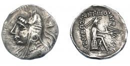 448  -  GRECIA ANTIGUA. PARTIA. Phraates I-Mithradates I. Dracma (168-132 a.C.). A/ Cabeza del rey a izq. con bashlyk. R/ Arquero sentado a der. AR 4,20 g. 19,4 mm. SBG-7328. MBC+. Ex col. Guadán 2672.